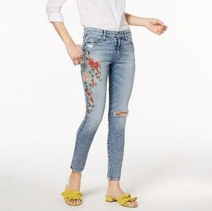 Hudson |Nico Floral-Embroidered Mid-Rise Skinny
